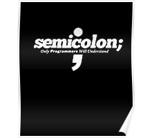 Semicolon ; Only Programmers Understand Funny Coder Tshirt Poster