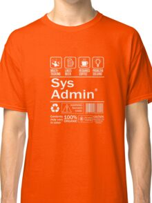 System administrator Funny T Shirt Unix Linux Beer Coffee Classic T-Shirt