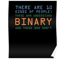 Funny Computer Nerd T-shirt, Binary Code Geek by Zany Brainy Poster