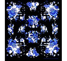 Blue China Ink Blot Test Photographic Print