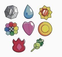 Pokemon Gen 1 Gym Badges by evilpinkdragon