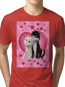 Romantic Cartoon cats on Valentine Heart  Tri-blend T-Shirt