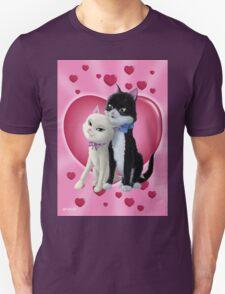 Romantic Cartoon cats on Valentine Heart  T-Shirt
