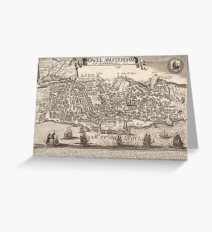 Vintage Pictorial Map of New York City (1672) Greeting Card