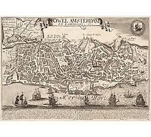 Vintage Pictorial Map of New York City (1672) Photographic Print