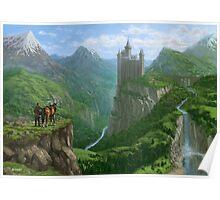 Traveller in landscape with distant Castle Poster