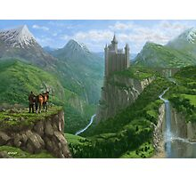 Traveller in landscape with distant Castle Photographic Print