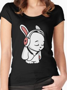 Love Music Cartoon Bunny Women's Fitted Scoop T-Shirt