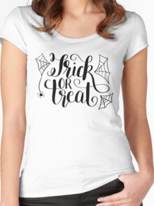 Hand Lettered Trick or Treat Women's Fitted Scoop T-Shirt