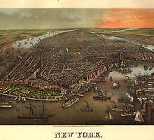 Vintage Pictorial Map of New York City (1873) by BravuraMedia