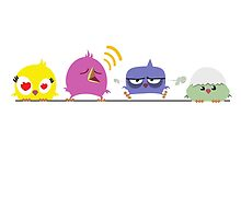 Funny cartoon birds on pole by berlinrob