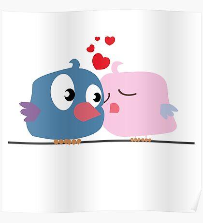 Two cartoon birds kissing Poster