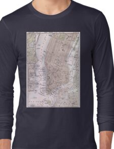 Vintage Map of New York City (1884) Long Sleeve T-Shirt
