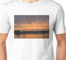 Just a Sliver of the Sun - Sunrise God Rays at the Marina Unisex T-Shirt
