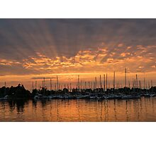 Just a Sliver of the Sun - Sunrise God Rays at the Marina Photographic Print
