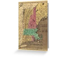 Vintage Map of New England (1836) Greeting Card
