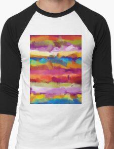 Colorful Pastel Abstract Art Men's Baseball ¾ T-Shirt