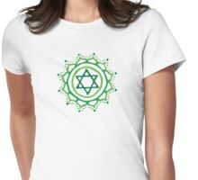 Heart chakra & jadeite stone Womens Fitted T-Shirt