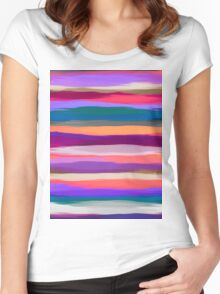 Watercolor Multicolor Abstract Background Women's Fitted Scoop T-Shirt