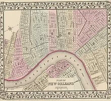 Vintage Map of New Orleans (1880) by BravuraMedia