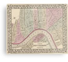 Vintage Map of New Orleans (1880) Metal Print