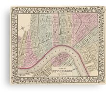 Vintage Map of New Orleans (1880) Canvas Print