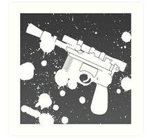 Han Solo Blaster Paint Splatter (White) Art Print