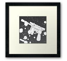 Han Solo Blaster Paint Splatter (White) Framed Print