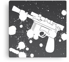 Han Solo Blaster Paint Splatter (White) Canvas Print