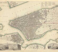 Vintage Map of Lower New York City (1840) by BravuraMedia