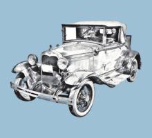 Model A Ford Roadster Antique Car Illustration One Piece - Short Sleeve