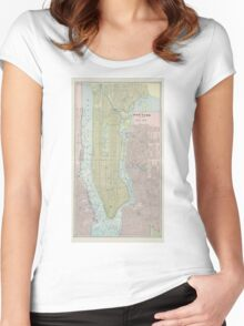 Vintage Map of New York City (1901) Women's Fitted Scoop T-Shirt