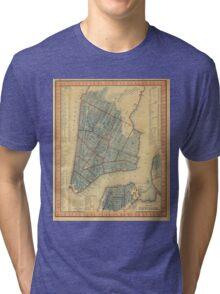 Vintage Map of New York City (1846) Tri-blend T-Shirt