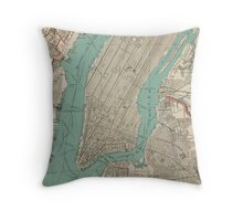 Vintage Map of New York City (1890) Throw Pillow