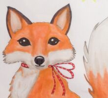 Little Christmas fox with bird Sticker