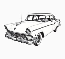 1956 Ford Custom Line Antique Car Illustration Kids Clothes