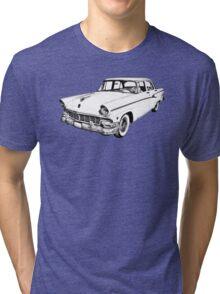 1956 Ford Custom Line Antique Car Illustration Tri-blend T-Shirt