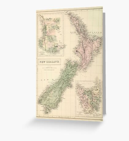 Vintage Map of New Zealand (1854) Greeting Card