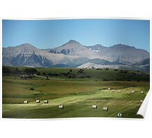 Farming, Foothills and Mountains Poster