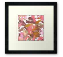 Pink brush stripes, abstract Framed Print