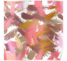 Pink brush stripes, abstract Poster