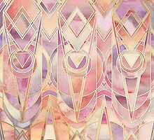 Glowing Coral and Amethyst Art Deco Pattern by micklyn