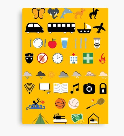 Travel icons Canvas Print