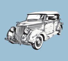 1936 Ford Phaeton Convertible Illustration  Kids Tee