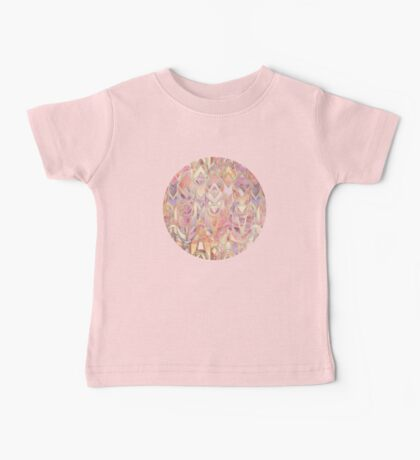 Glowing Coral and Amethyst Art Deco Pattern Baby Tee