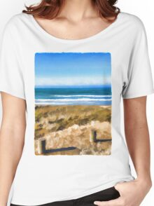 View of the Beach from the Carpark Women's Relaxed Fit T-Shirt
