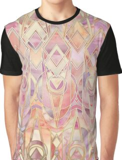 Glowing Coral and Amethyst Art Deco Pattern Graphic T-Shirt