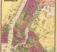 Vintage Map of NYC and Brooklyn (1868) by BravuraMedia