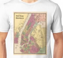 Vintage Map of NYC and Brooklyn (1868) Unisex T-Shirt