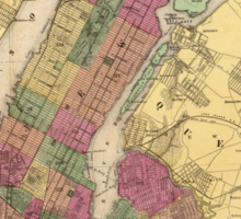 Vintage Map of NYC and Brooklyn (1868) Sticker